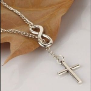 Jewelry - 925 Cross /Infinity Lariat Statement Necklace Adj
